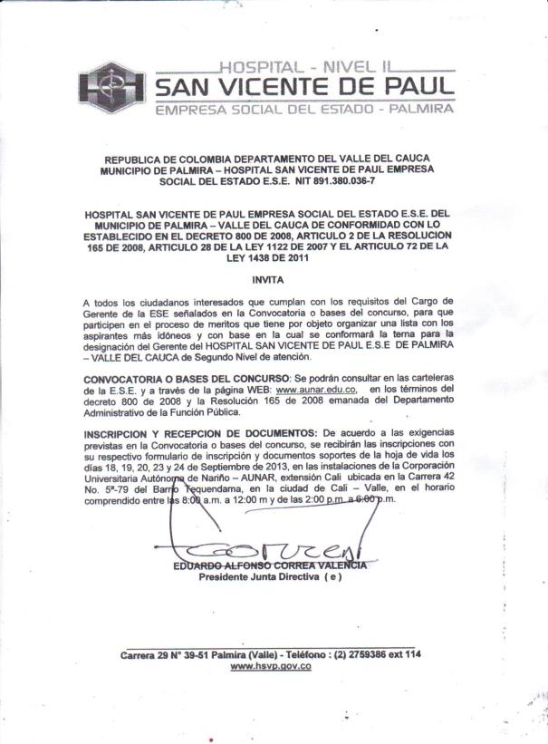 CONVOCATORIA PARA CONCURSO SELECCION DE GERENTE HSVP